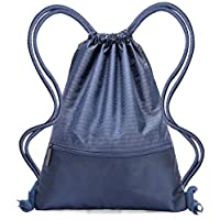 Drawstring Bag - Swimming Bag Gymsack PE Backpack Chich Bag - Hovinso Lightweight Sport Gym Rucksack Shoulder Bag Tote Travel School Gymnastic Swim Fitness with Zip Pocket