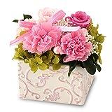 プリザーブドフラワー 【ピンク】 カーネーション バラ あじさい ポトスポラム 日本製 ケース入り