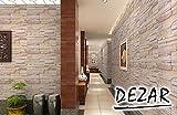 DEZAR DIY 壁紙シール レンガ 簡単貼付シールタイプ 61cm×10m リフォーム ウォールステッカー 防水 (ベージュ)