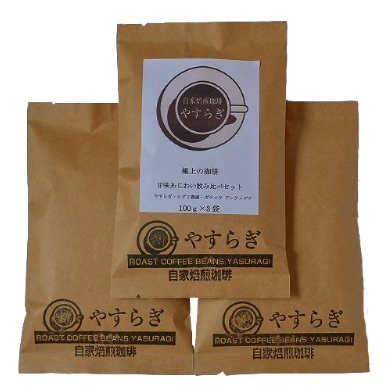 自家焙煎珈琲やすらぎ 【受注後焙煎】 新しくなった 甘味あじわい 飲み比べセット 高級 コーヒー豆 100g×3 (豆のまま)
