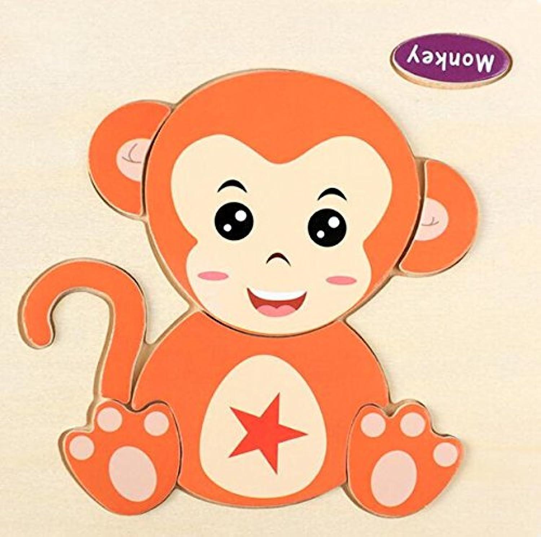 HuaQingPiJu-JP 子供のための素敵な木製の就学前の猿の認知ボード教育パズル