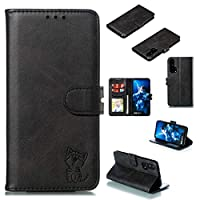 KUNTSO に対応するケース Honor 20 Pro カードスロットが付いているPUの革札入れの電話カバー - 黒