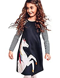 Yumiki ベビー服 子供服 ワンピース ドレス 横柄 ストライプ ユニコーン 可愛い ラウンドネック ゆったり プレゼント 普段着 ファクション 長袖