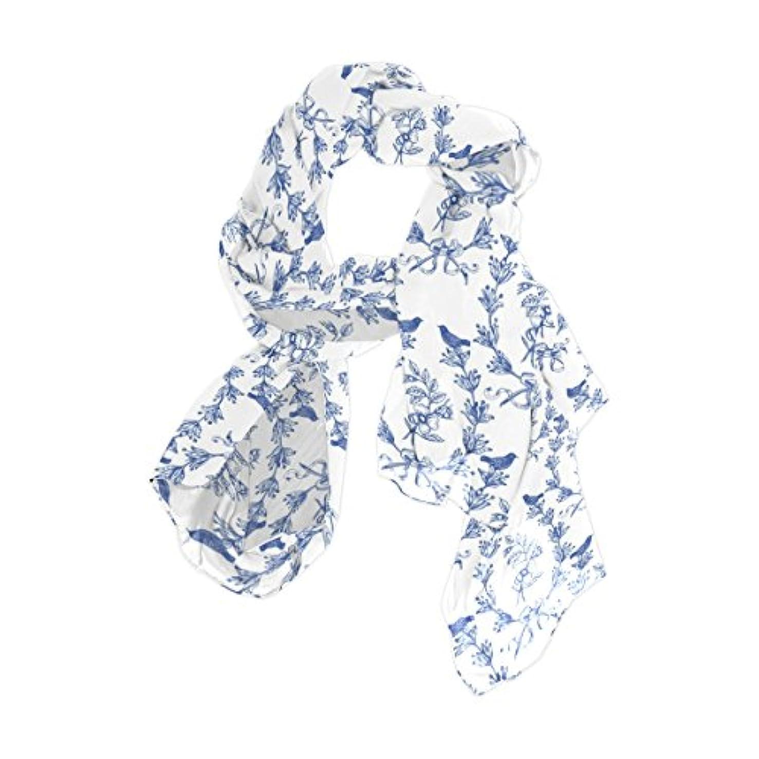 さようなら二度パステルマキク(MAKIKU)レディース 柔かなストール ショール スカーフ 花柄 花モチーフ 模様 ブルー ホワイト シフォン 優しい肌触り 羽織り 大判 薄手 華麗 パーティーストール ロング オフィススカーフ 90×180cm