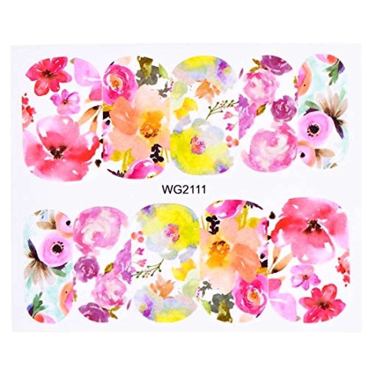 ビューティー&パーソナルケア 10個入りフラワーネイルアートデカール(WG2111) ステッカー&デカール (色 : WG2111)