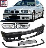 1992–1998BMW e363シリーズm3スタイルフロントバンパーカバー+リップ+クリアフォグライト1992199319941995199619971998