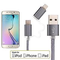 【4 Packs】 2 in 1高速充電2.5 Aマイクロlightning USBケーブル データ通信対応Android IOSのスマートフォンやその他のデバイス (灰色) (lightning + Micro)