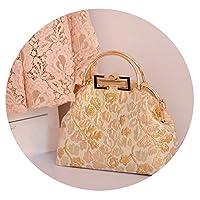 ヘップバーンスタイルゴールドバッグdiyキットエレガントでエレガントなハンドバッグジャカード結婚式の宴会ギフト,シャンパン(材料パッケージ)