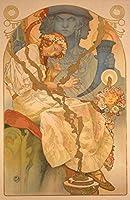 絵画風 壁紙ポスター (はがせるシール式) アルフォンス・ミュシャ スラヴ叙事詩 ポスター 1928年 堺市蔵 キャラクロ K-MCH-004S2 (390mm×603mm) 建築用壁紙+耐候性塗料
