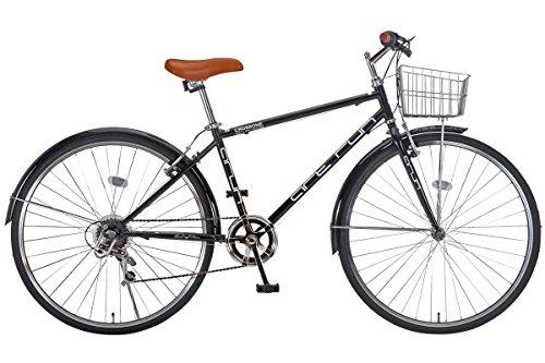 【完成車 組立済み】 ARUN (アラン) ACR-7006 クロスバイク カゴ付き (シマノ製 6段変速 LEDライト ワイヤーロック) ブラック