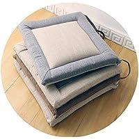 シンプルなリネンの室内装飾クッションのオフィス の畳の四季の通気性の布の家のダイニングテーブルと椅子のクッション,コーヒーの顔、白い側,45 * 45cm 厚4cm