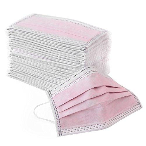 【DOGUE】活性炭入りフィットマスク 50枚入り 4層フィルター 季節の悩み PM2.5対策&火山灰対策 高品質素材 超快適 プリ-ツ 肌に優しい 使い捨て 大人用 男性 女性 フリーサイズ 個包装 衛生的 50枚入 ピンク