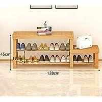 靴ラックナチュラルバンブー木製シンプルシューズ収納オーガナイザーホルダーマルチレイヤーチェンジスツール多機能ストレージシェルフ