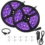 UV Black Light Strip, 33ft/10m UV Light Strip with 600 Units Lamp Beads, 12V Flexible Led Blacklight Strip, Non-Waterproof UV