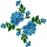 2枚 薔薇 ボタンの花 刺繍アイロンアップリケワッペン-Red [並行輸入品] (青)