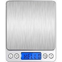 Angeno デジタルスケール 電子天秤 0.01g~500gまで精密な計量器 風袋引き機能付き 料理用電子はかり シルバー