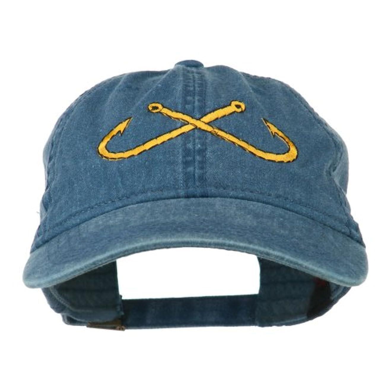湿度オーケストラ日記釣りCrossed Fishhooks刺繍Washed Cap – Navy