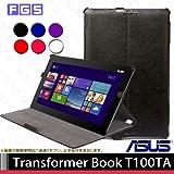 【F.G.S】ブラック ASUS Transformer Book T100TA 熱処理 PUレザーケース 自動スリープ機能付き (ブラック)