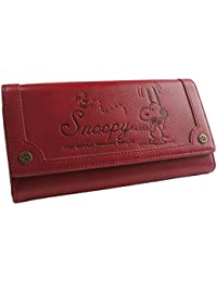 [スヌーピー] SNOOPY 財布 レディース 長財布 ロングウォレット フラップ かぶせ ヴィンテージ 型押し 刻印 シック カード入れ 小銭入れあり ジャバラ 女性用