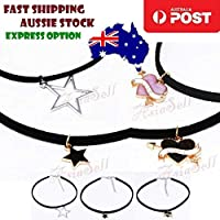 Velvet Neck Choker Necklace Black Love Heart Star Vintage Bohemian Charm 2