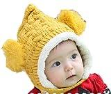 Amazon.co.jpふわふわ ダブル ボンボン 付き ニット帽 ベビー & キッズ 用 耳あて とんがり ボア 防寒 6か月~4才 【GreeParty】 (イエロー)