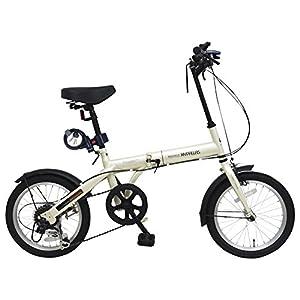 【Amazon.co.jp限定】My Pallas(マイパラス) 折畳自転車16インチ・シマノ6段ギア/LEDライト/ワイヤーロック/反射シール(夜間の安全性&視認性向上) 付<メーカー保証1年&JIS振動試験合格フレーム> M-104 アイボリー