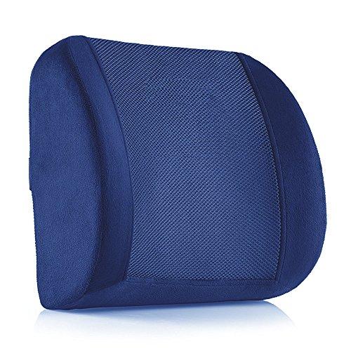 MOEEZE 低反発ランバーサポート 健康クッション 腰枕 背もたれ 猫背 骨盤矯正 腰痛対策 車内 椅子 オフィス用 (ネイビー)