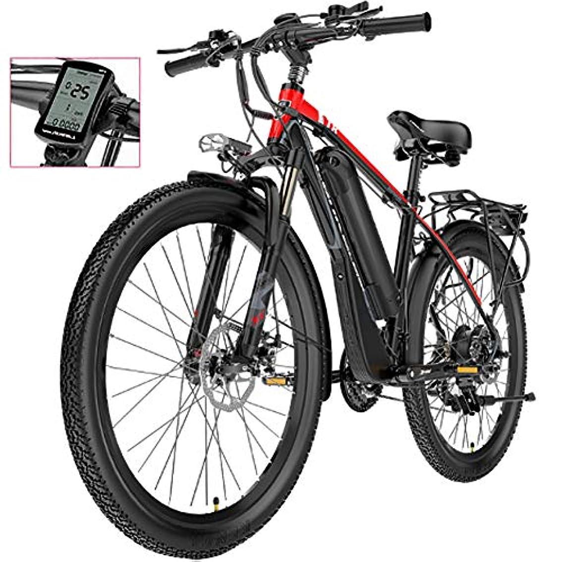 不適当直感ソフトウェア後部座席付き電動マウンテンバイク、400Wモーター26インチ大人用防水電動自転車、取り外し可能な48V 12.8AHリチウムイオンバッテリー21速デュアルディスクブレーキ