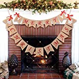 Cieovo Merry Christmas 黄麻布バナーガーランド バーラップバナー リボンリボン付き クリスマスデコレーションオーナメント rustic garland77
