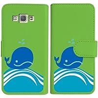 sslink SCV32 Galaxy A8 ギャラクシー エーエイト 手帳型 グリーン ケース くじら クジラ マリン ダイアリータイプ 横開き カード収納 フリップ カバー