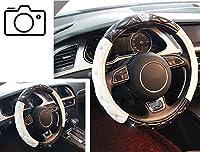 車ハンドルカバーピンクホワイトブラックレディースガールズLadyラインストーンキラキラ光るクリスタルダイヤモンドステアリングホイールカバーPUレザーNonslipユニバーサルFitsトラックSUV自動 carcover1496