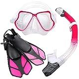 Zenoplige シュノーケルセット スノーケリング ドライスノーケル フィン・マスク・スノーケル 3点セット曇り止め 強化ガラス 収納バッグ付き 男女兼用 (M&ピンク)