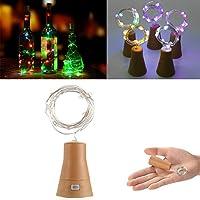 クインウィンド 太陽光発電10LEDs コルク形銀線ワインボトル妖精文字列光クリスマスパーティー - 紫
