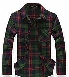 (ラロリオン)RAROLION ギンガムチェック ネルシャツ 長袖 メンズ(緑 赤 XL)