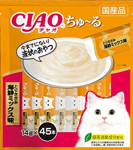 チャオ (CIAO) 猫用おやつ ちゅ~る とりささみ 海鮮ミックス味 14g×45本入