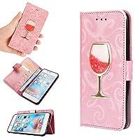 可愛い ワイングラス 砂入り iPhonex iPhone8 iPhone7 iPhone6s Plus ケース 手帳型 キラキラ アイフォン ギャラクシー ケース 女性 人気PODITAGI (iPhone6Plus/6sPlus, ピンク)