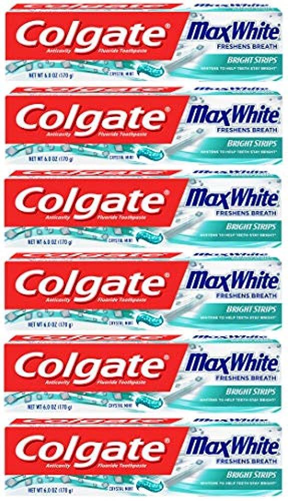 ディンカルビル初期の強風Colgate 明るいストリップでマックスホワイトホワイトニングの歯磨き粉、ミント - 6オンス(6パック)