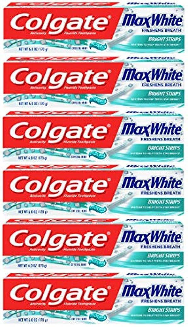 かごブラウズ赤Colgate 明るいストリップでマックスホワイトホワイトニングの歯磨き粉、ミント - 6オンス(6パック)