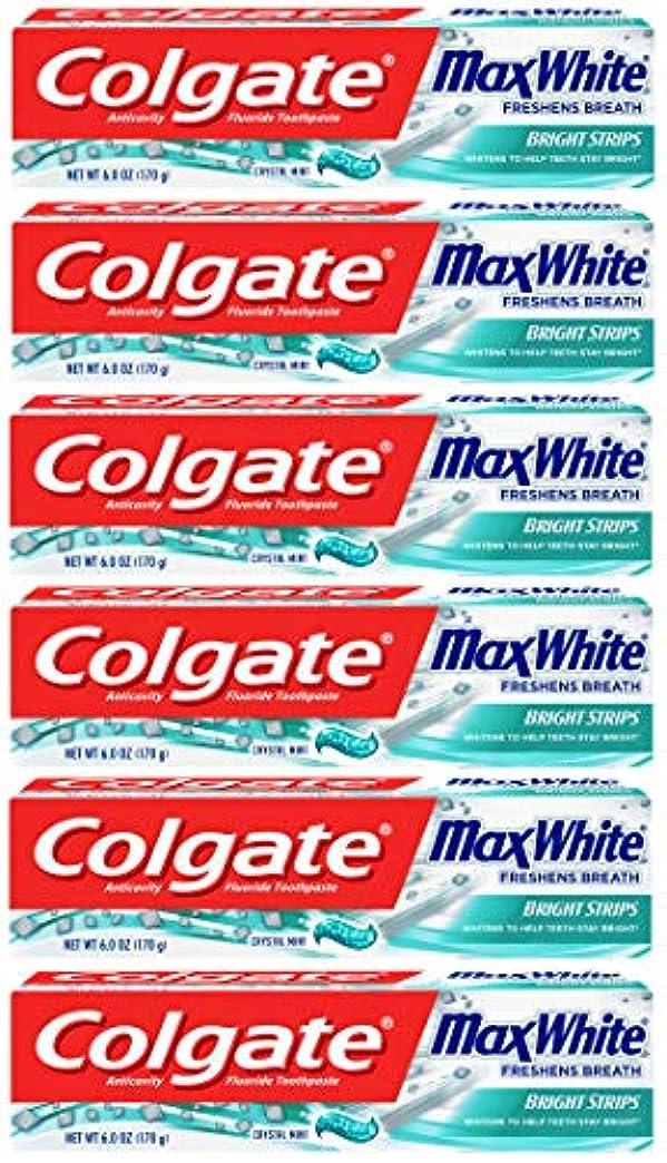 気味の悪い治療普通にColgate 明るいストリップでマックスホワイトホワイトニングの歯磨き粉、ミント - 6オンス(6パック)