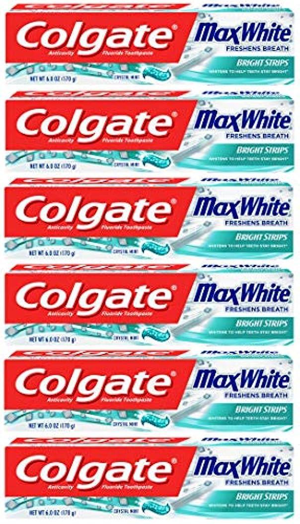 属する自分を引き上げる長々とColgate 明るいストリップでマックスホワイトホワイトニングの歯磨き粉、ミント - 6オンス(6パック)
