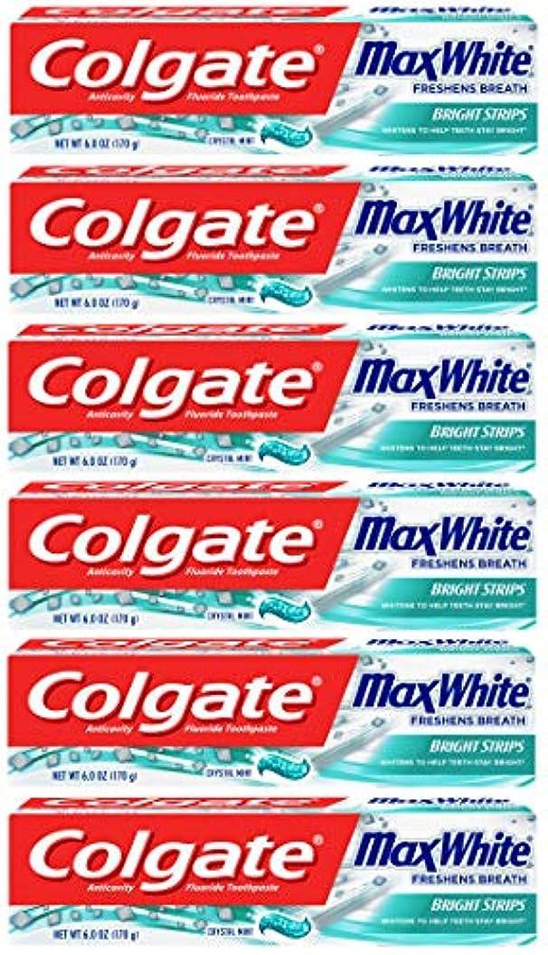 全国洋服お酒Colgate 明るいストリップでマックスホワイトホワイトニングの歯磨き粉、ミント - 6オンス(6パック)