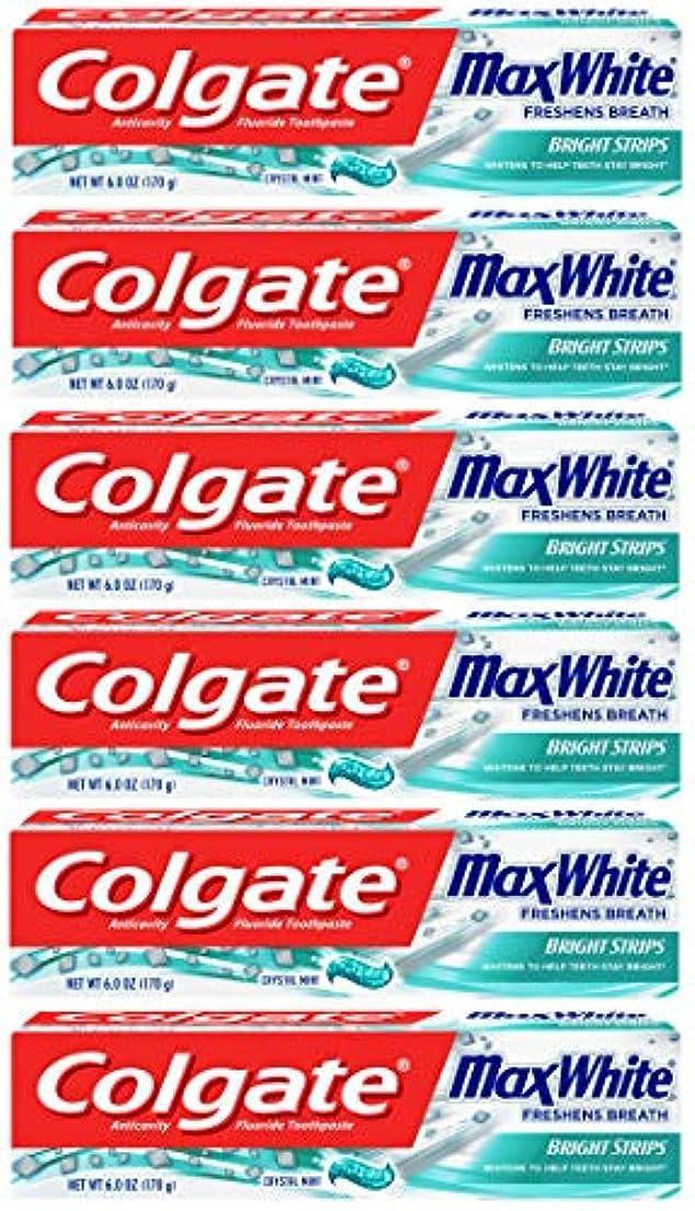 やる健康弾丸Colgate 明るいストリップでマックスホワイトホワイトニングの歯磨き粉、ミント - 6オンス(6パック)