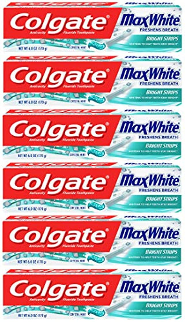 任命する粘着性放棄Colgate 明るいストリップでマックスホワイトホワイトニングの歯磨き粉、ミント - 6オンス(6パック)