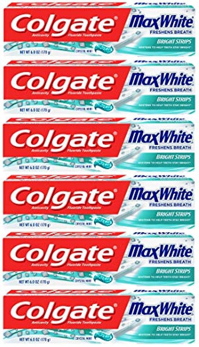 意識はっきりしない拡張Colgate 明るいストリップでマックスホワイトホワイトニングの歯磨き粉、ミント - 6オンス(6パック)