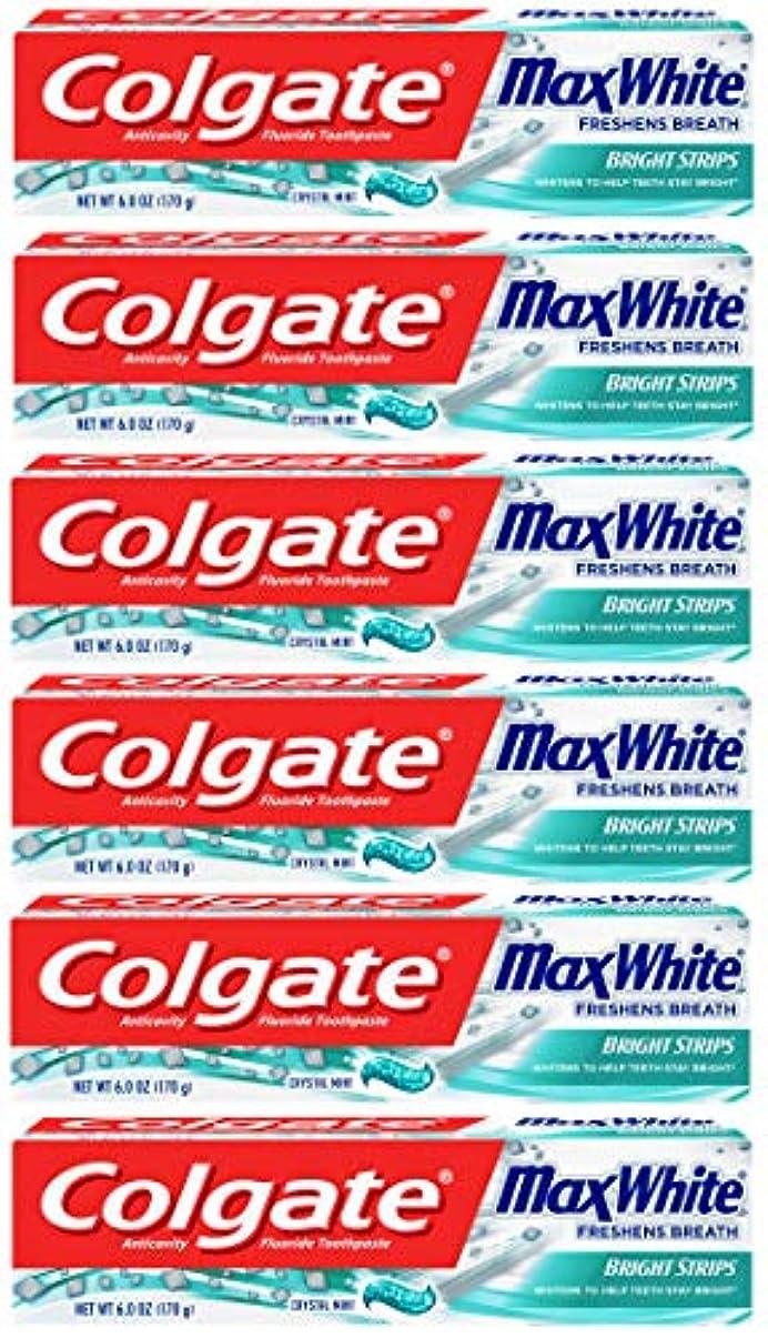 フォージ吸収する凶暴なColgate 明るいストリップでマックスホワイトホワイトニングの歯磨き粉、ミント - 6オンス(6パック)