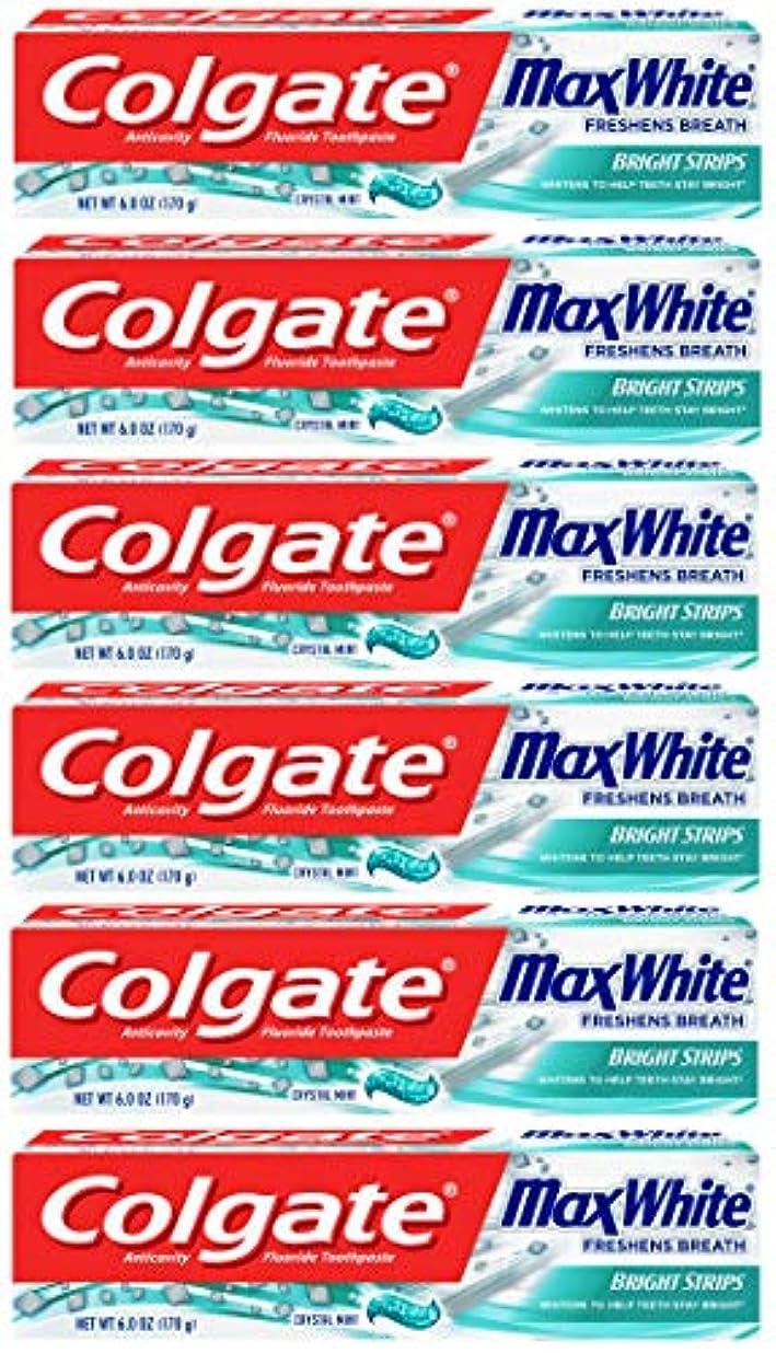 それによって雄弁家宿Colgate 明るいストリップでマックスホワイトホワイトニングの歯磨き粉、ミント - 6オンス(6パック)