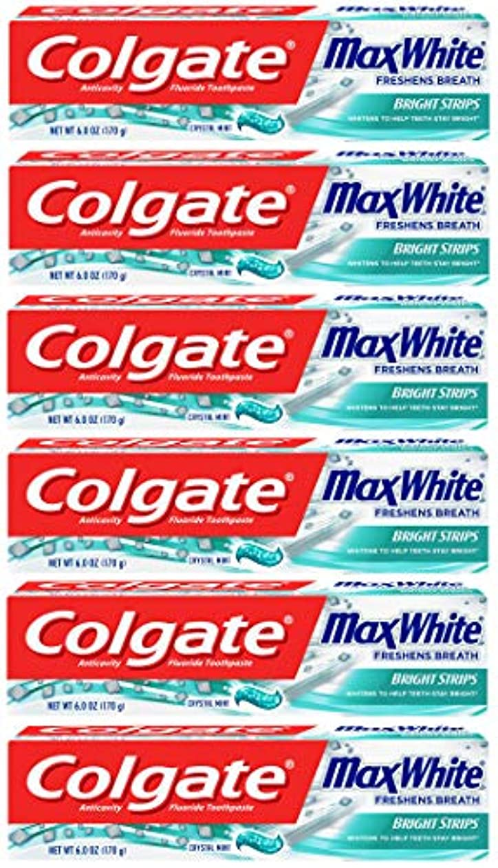 勇気取り扱い保持Colgate 明るいストリップでマックスホワイトホワイトニングの歯磨き粉、ミント - 6オンス(6パック)