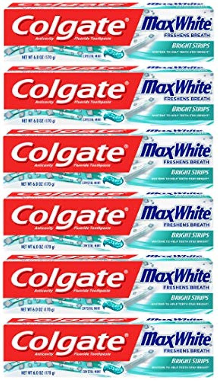 日曜日コカイン窒素Colgate 明るいストリップでマックスホワイトホワイトニングの歯磨き粉、ミント - 6オンス(6パック)