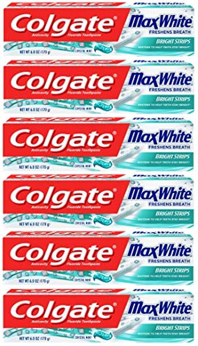 Colgate 明るいストリップでマックスホワイトホワイトニングの歯磨き粉、ミント - 6オンス(6パック)