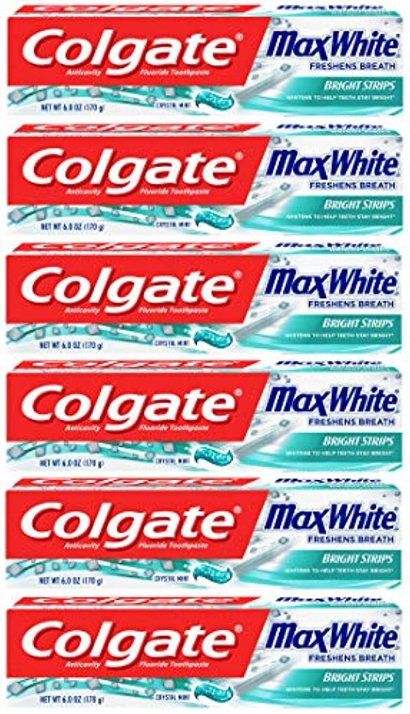 とても多くの空いている小さなColgate 明るいストリップでマックスホワイトホワイトニングの歯磨き粉、ミント - 6オンス(6パック)